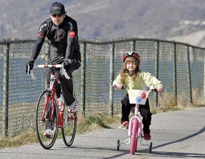 hình ảnh đạp xe cùng con