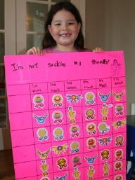 Lập bảng thành tích để ghi nhận trẻ không mút tay