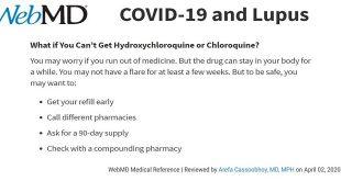 Tình trạng thiếu thuốc Hydroxychloroquine (HCQ) đối với bệnh nhân Lupus